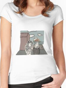 The Girl at the Dock's meet's a Cat Women's Fitted Scoop T-Shirt