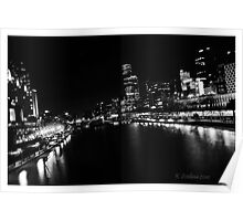 Melbourne city in b/w Poster