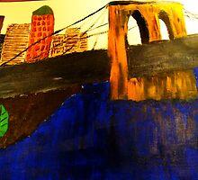 Modern Lower Manhattan Painting with Brooklyn Bridge by Christina Darcy