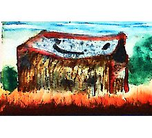 The old shed, watercolor and pencil Photographic Print