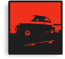 Fiat 500, 1973 - Red on charcoal Canvas Print