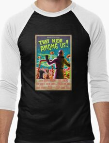 They Hide Among Us! Poster Men's Baseball ¾ T-Shirt