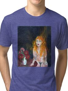 Woman And Flowers Tri-blend T-Shirt