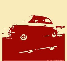 Fiat 500, 1973 - Dark red on cream by uncannydrive