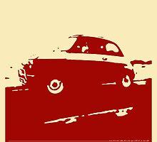 Fiat 500, 1973 - Dark red on cream by uncannydrive
