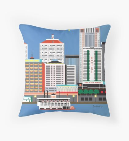 Louisville, Kentucky - Skyline Illustration by Loose Petals Throw Pillow