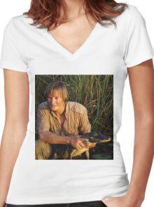 Austin Stevens with Alligator Women's Fitted V-Neck T-Shirt