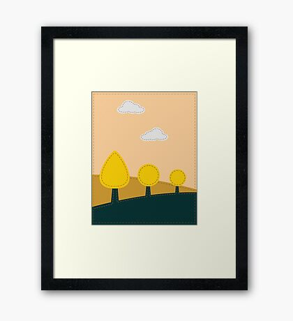 Stitched landscape with trees and cloud Framed Print