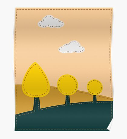 Stitched landscape with trees and cloud Poster