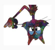 Neon Tie Dye Cat Kids Tee