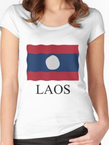 Laos flag Women's Fitted Scoop T-Shirt