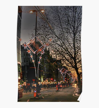 Christmas lights on Oxford Street, London Poster