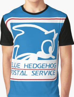 BLUE HEDGEHOG POSTAL SERVICE Graphic T-Shirt