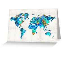 World Map 22 Art by Sharon Cummings Greeting Card