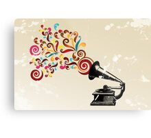 Abstract swirl background with record player Metal Print