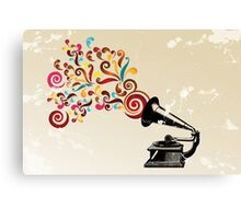Abstract swirl background with record player Canvas Print