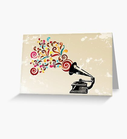 Abstract swirl background with record player Greeting Card