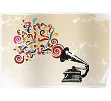 Abstract swirl background with record player Poster