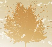 Abstract vintage background with silhouettes of tree and birds by schtroumpf2510