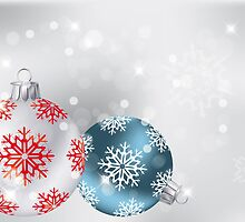 Neutral Christmas background with baubles, snowflakes and stars by schtroumpf2510