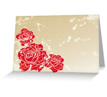 Old vintage background with roses Greeting Card