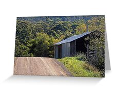 Oops!  a farm shed on the crest of the hill Greeting Card