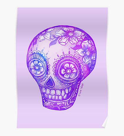 Sugar Skull in Purple Poster