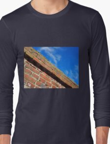 Bottom view on a fragment of an old brick fence Long Sleeve T-Shirt