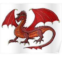 Red Dragon cartoon drawing art Poster