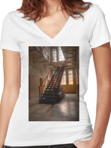 0965 The Gaol Staircase Women's Fitted V-Neck T-Shirt
