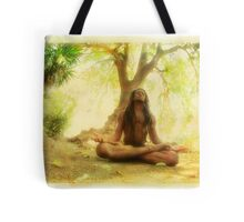 Yoga meditation by the tree Tote Bag