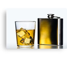 Hip flask and Whisky on the rocks Canvas Print