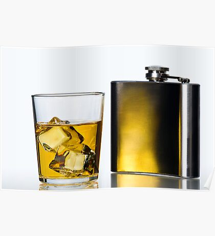 Hip flask and Whisky on the rocks Poster