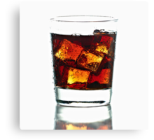 Fresh Cold Cola with ice in glass Canvas Print