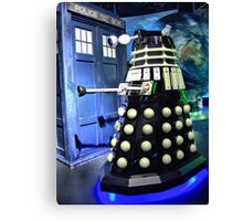 The TARDIS and a Dalek Canvas Print