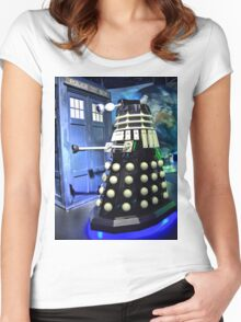 The TARDIS and a Dalek Women's Fitted Scoop T-Shirt