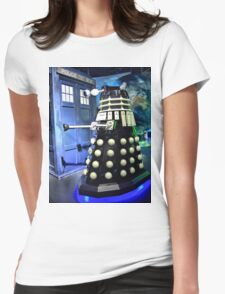 The TARDIS and a Dalek Womens Fitted T-Shirt