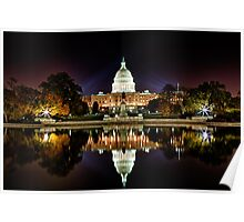 US Capitol Building at Night Poster