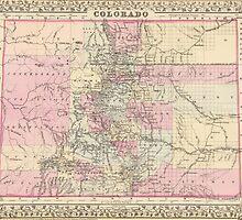 Vintage Map of Colorado (1880) by BravuraMedia