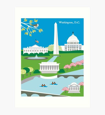 Washington DC - Skyline Illustration by Loose Petals Art Print