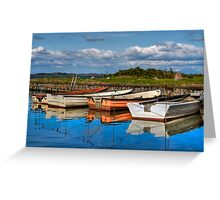 Boats in natural harbor Greeting Card