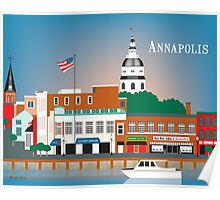 Annapolis, Maryland - Skyline Illustration by Loose Petals Poster