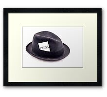 A photojournalist fedora hat with press card Framed Print