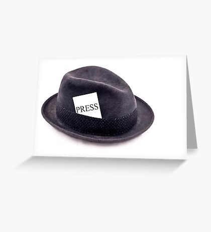 A photojournalist fedora hat with press card Greeting Card