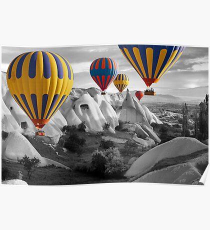Hot Air Balloons Over Capadoccia Turkey - 3 Poster