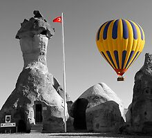 Hot Air Balloons Over Police Station Capadoccia Turkey -  by Paul Williams