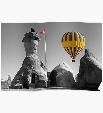 Hot Air Balloons Over Police Station Capadoccia Turkey -  Poster