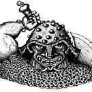 Fantasy Viking black and white pen ink drawing by Vitaliy Gonikman