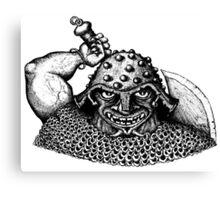 Fantasy Viking black and white pen ink drawing Canvas Print