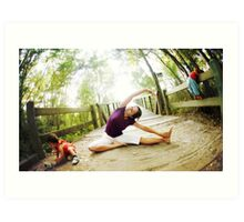Yoga in the nature with kids Art Print